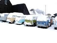 Camper vans in storage